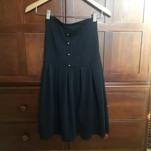 Navy blue strapless dress with buttons